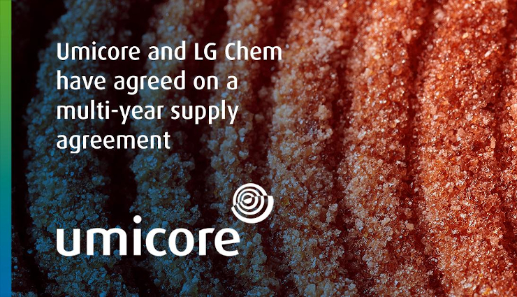 Umicore announces partnership with LG Chem for the supply of NMC cathode materials